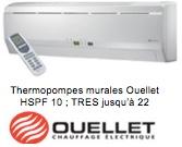 Thermopompe murale Ouellet - unité intérieure
