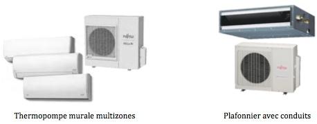 modèle de thermopompe multizone ET plafonnier avec conduits